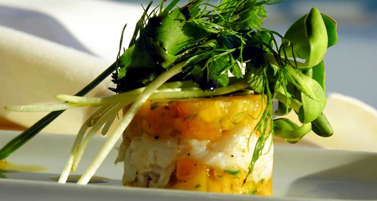 stacked fish dish by Chef Letard