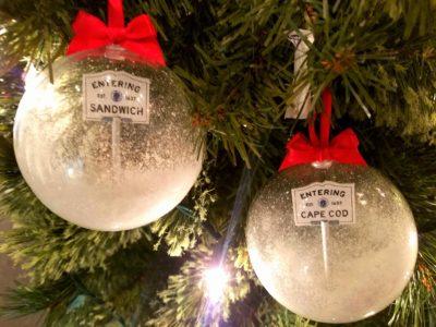 Glassblowers Christmas Ornaments - Entering Cape Code sign est 1602