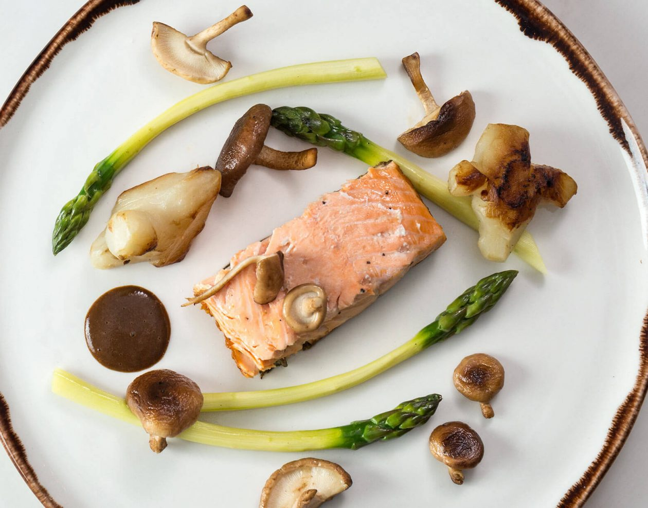 Dinner Entree of Salmon and mushrooms