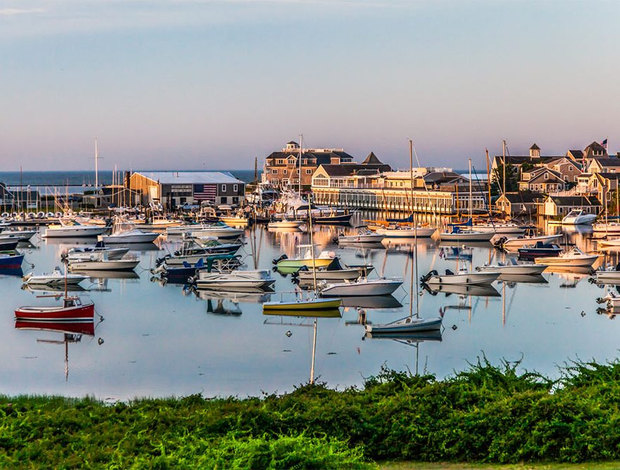 Boats in Wychmere Harbor at Sunrise