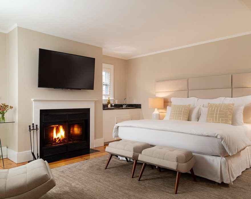 luxury guest room with fireplace
